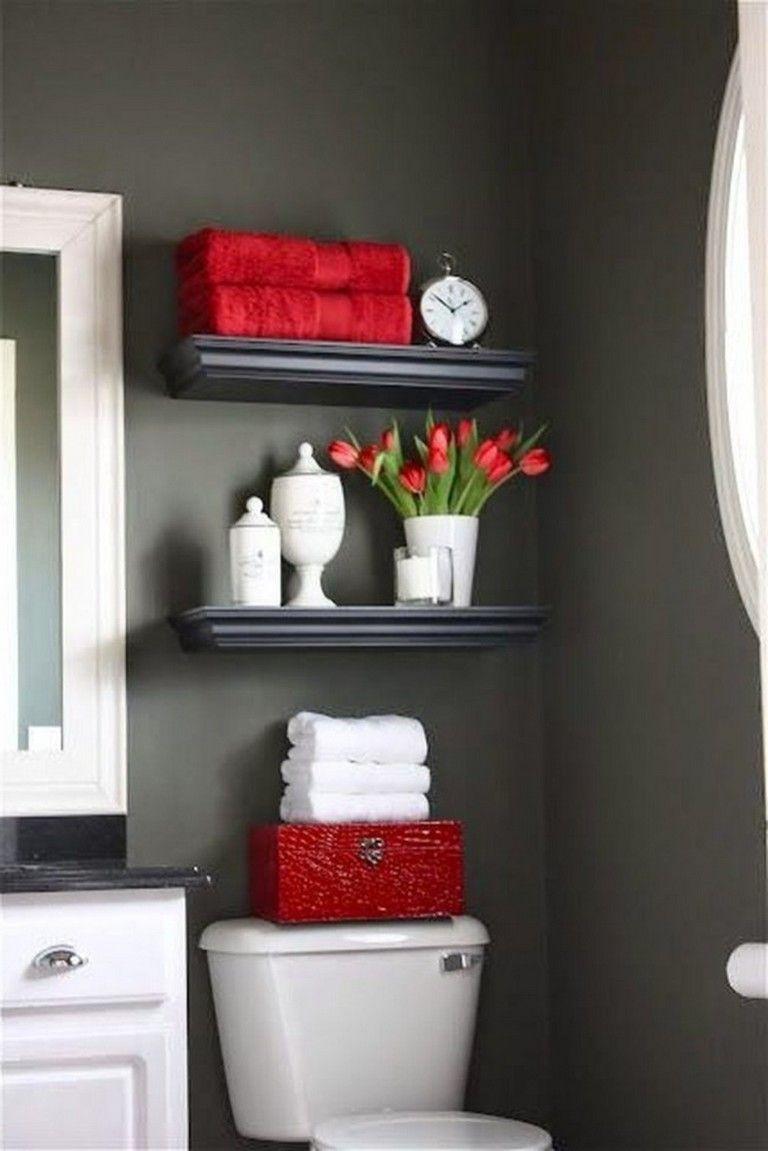 40 Good Red Black And White Bathroom Decor Ideas Black Bathroom