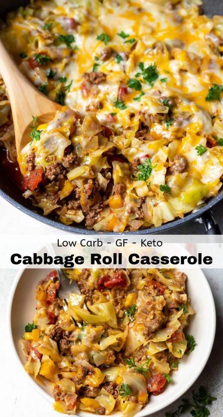 UNSTUFFED CABBAGE CASSEROLE {Low-Carb!} - WonkyWonderful #ketodinnerrecipes