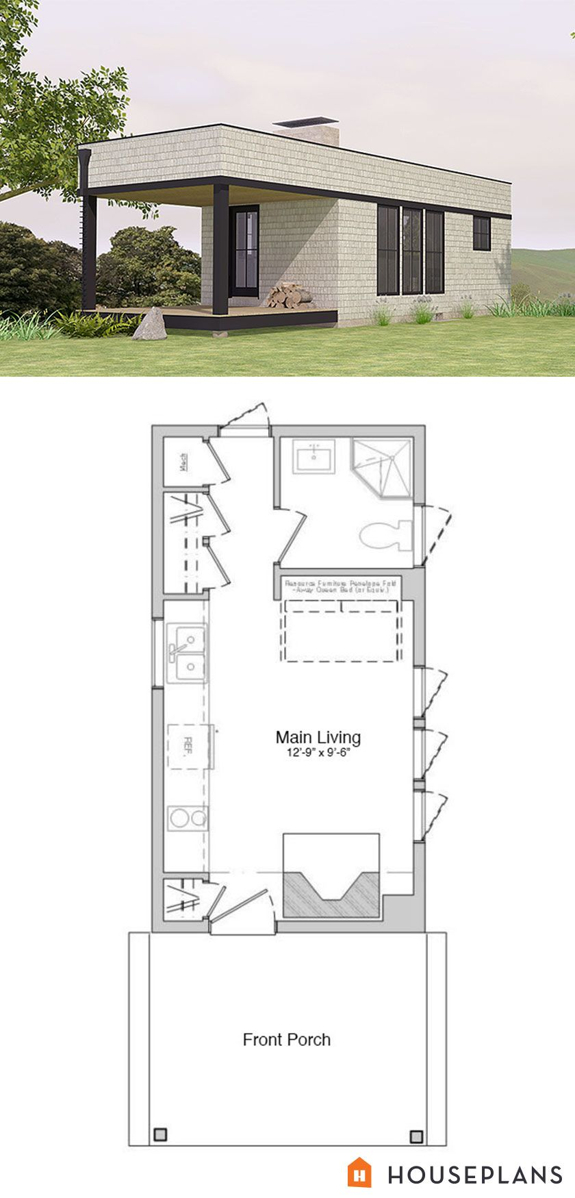 300 sft modern cabin floorplan. 1 bedroom, 1 bathroom ...