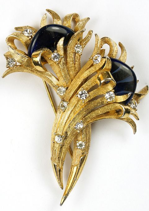Boucher Intertwined Gold, Spangles and Sapphire Demilunes Pair of Flower Pins or Duette Pin