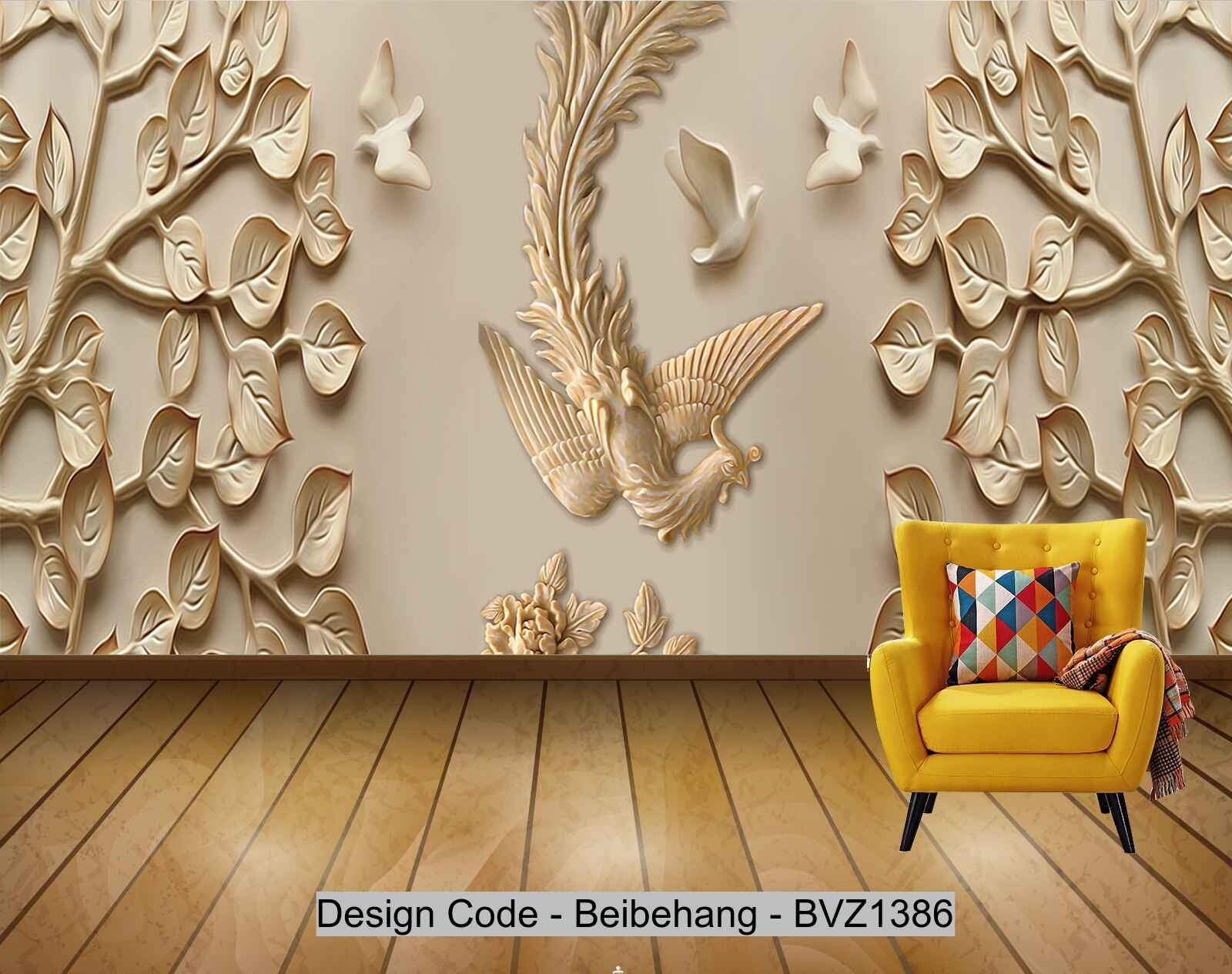 Beibehang Bvz1386 Chinese Fashion Embossed Leaves Phoenix P
