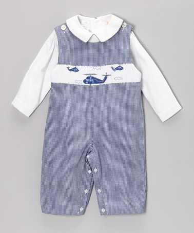 b12450c07 Take a look at this White Top & Blue Gingham Helicopter Smocked Overalls -  Infant & Toddler by Smocked Giraffe on #zulily today!