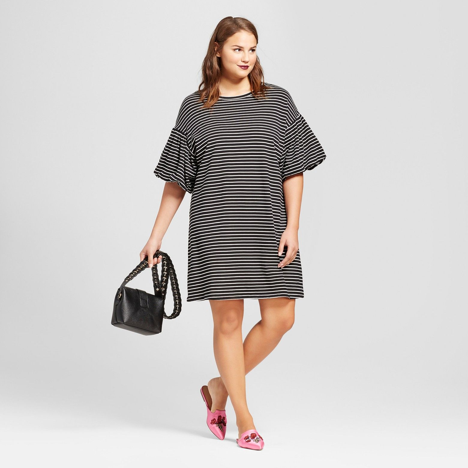 1e3512d3a1e Women s Plus Size Puff Sleeve T-Shirt Dress - Who What Wear™   Target