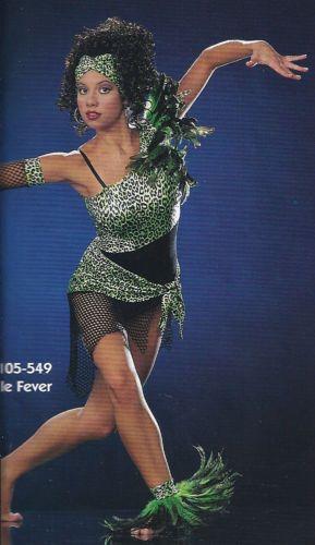 f7070d48aa9f6 Jungle Fever Dance Costume Lime Black Animal Print Jazz Hip Hop Tap Modern  L K | eBay