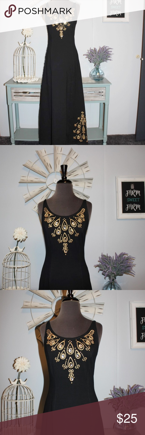 Georgiann Black Dress Hand Painted Gold Accents Georgiann Black Dress With Hand Painted Gold Glittery Accents By Typhoons By Clothes Design Fashion Black Dress [ 1740 x 580 Pixel ]