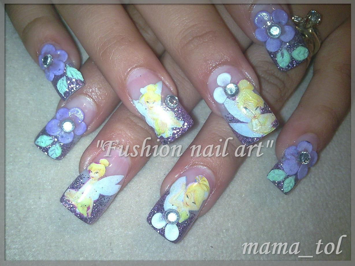 Tinkerbell Nails Art Tinkerbell Nail Designs Christmas