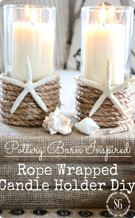 Rope Candle Holders For Summer Dollar Tree Vases Diy Candle Holders Pottery Barn Inspired
