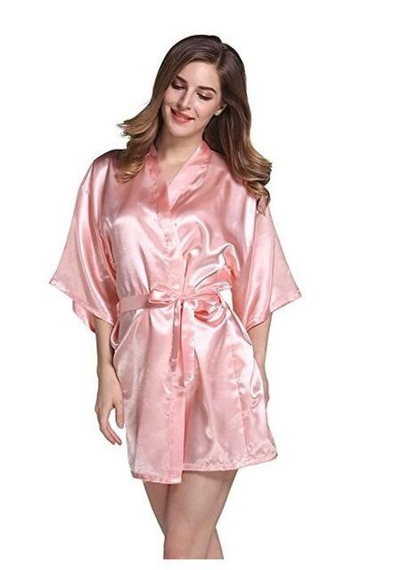 ae1a56d35b Silk Satin Wedding Bride Bridesmaid Robe Floral Bathrobe Short Kimono Robe  Night Robe Bath Robe Fashion Dressing Gown for Women