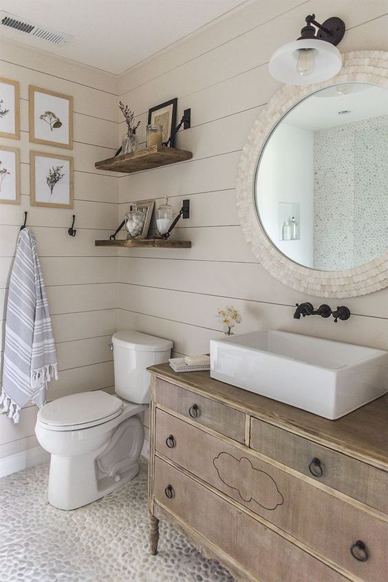 Magicalhome Two Favorites In This Bathroom An Old Dresser Turned Into A Vanity And Shiplap I Love That Pebble Floor Want To Try Do It Myself