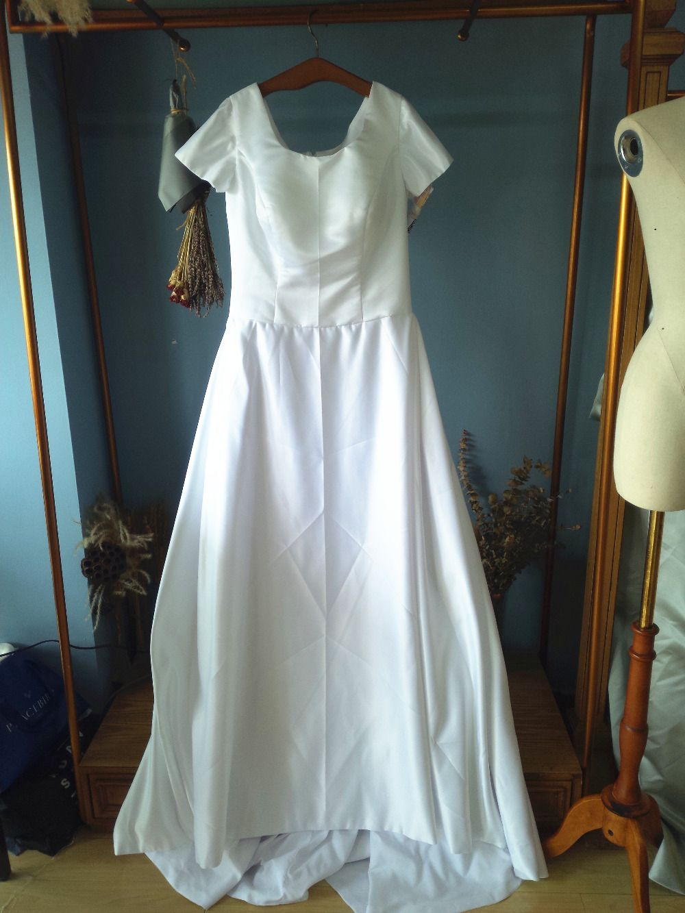 Simple white wedding dresses  Square Neck Cap Sleeves Simple White Satin Plus Size Wedding Dresses