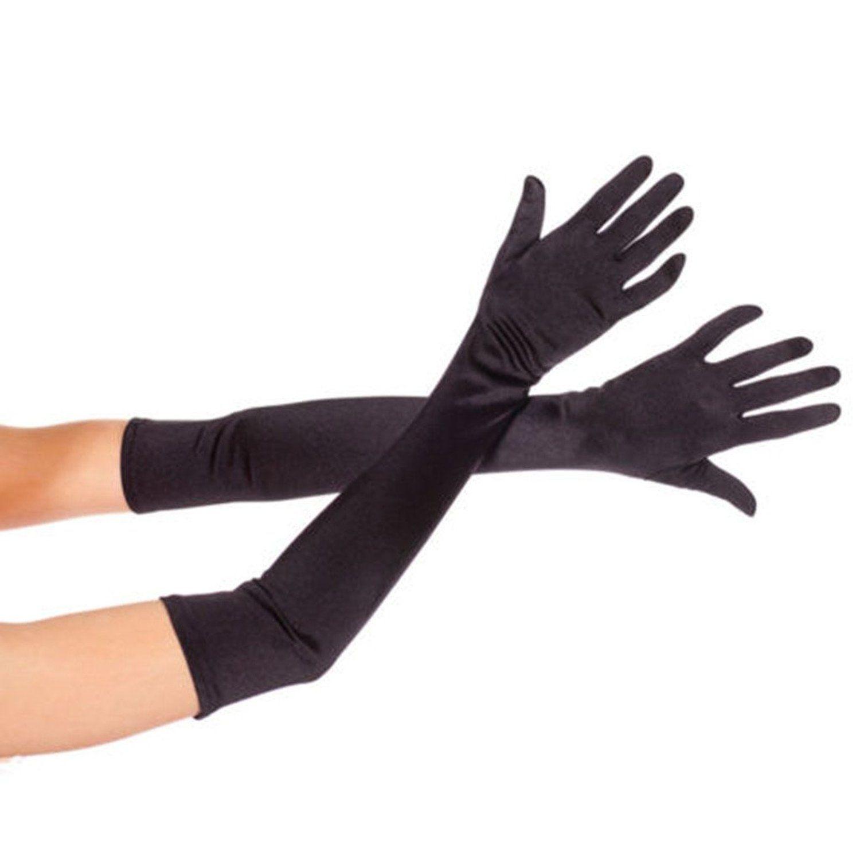 Long black gloves amazon - Dreamhigh Women S Party Wedding 21 Long Satin Finger Gloves Black At Amazon