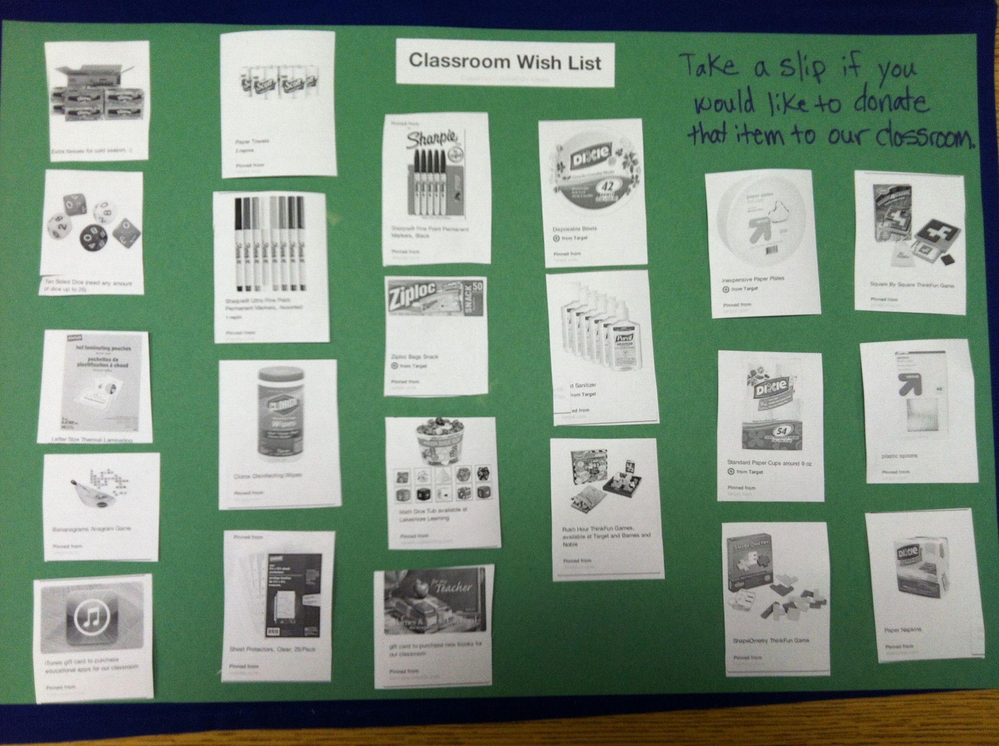 Classroom Wish List Ideas : Classroom wish list create a wish list board and ems you d