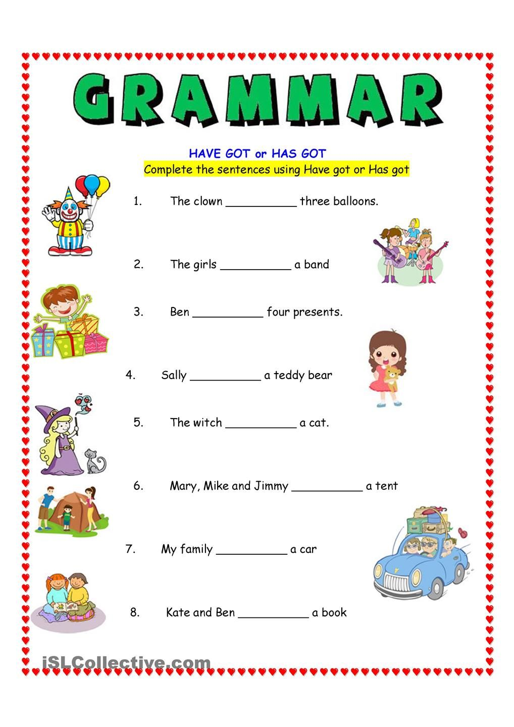 worksheet Has And Have Worksheets have got or has grammar pinterest english worksheets and got