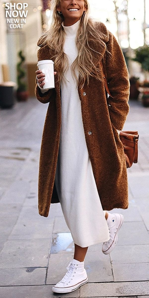 Fashion Pure Color Fold Over Collar Long Sleeve Coat #autumnwardrobe