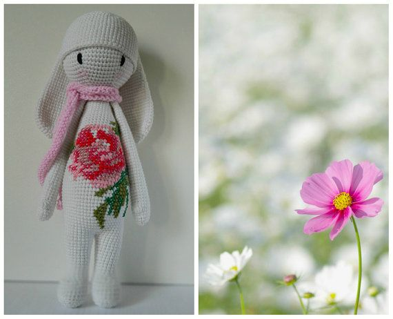 Rabbit inspired by Lalylala / Crochet Doll / Shower baby gift / Amigurumi animal / Easter Bunny/ Easter gift/ Baby Toy/ Organic toy