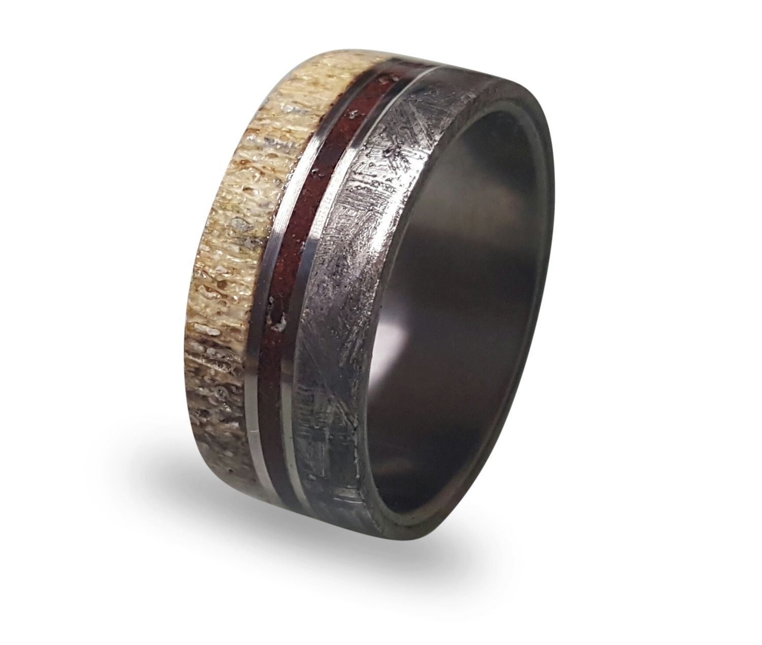 amp with and titanium bone wedding of band ring sandblasted luxury meteorite awesome rings collections mens wood dinosaur