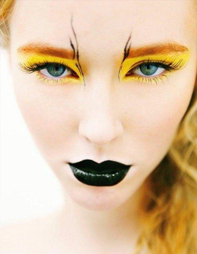 einfaches make up karneval halloween schwarzer lippenstift ...