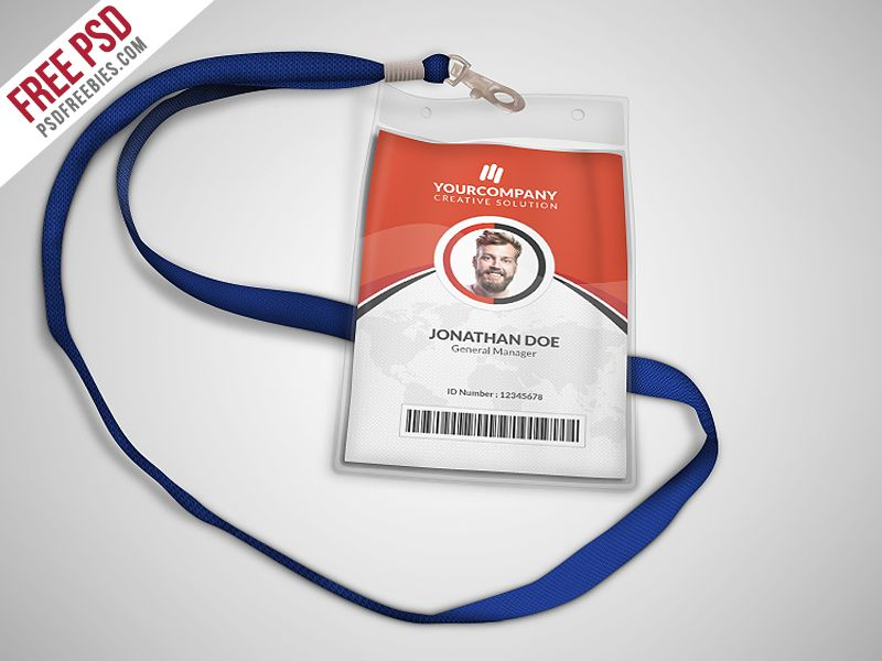 Multipurpose Office ID Card Template PSD Simple Shapes Card - Id badge template photoshop