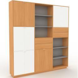 Photo of Wohnwand Buche – Individuelle Designer-Regalwand: Schubladen in Buche & Türen in Weiß – Hochwertige