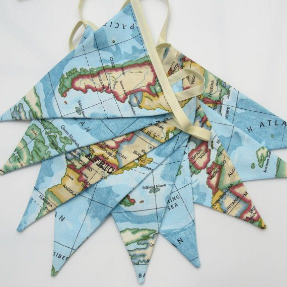 Map fabric bunting nautical antique style atlas sky blue 9 double map fabric bunting map pennant banner world map bunting map pennants fabric bunting 9 double sided pennant flags 8 foot long plus ties gumiabroncs Image collections