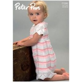 Striped or Plain Chevron Dress in Wendy Peter Pan 4 Ply (P1095) Digital Version £2.49