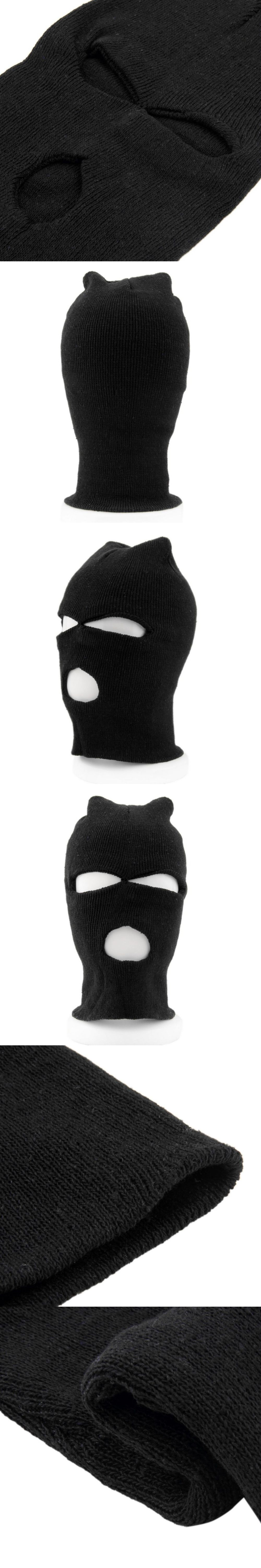 2017 Fashion Full Face Cover Mask Three 3 Hole Balaclava Knit Hat Winter  Stretch Snow mask 2f24799140d2