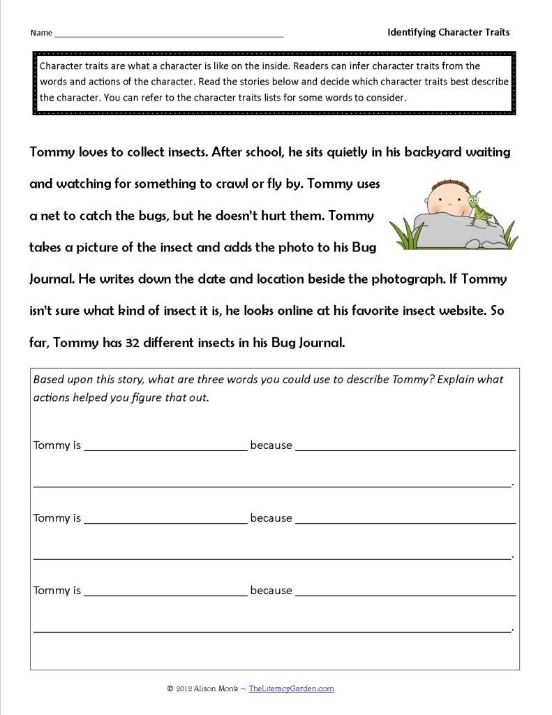 Identifying Character Traits in Literature   Character trait worksheets [ 1024 x 791 Pixel ]
