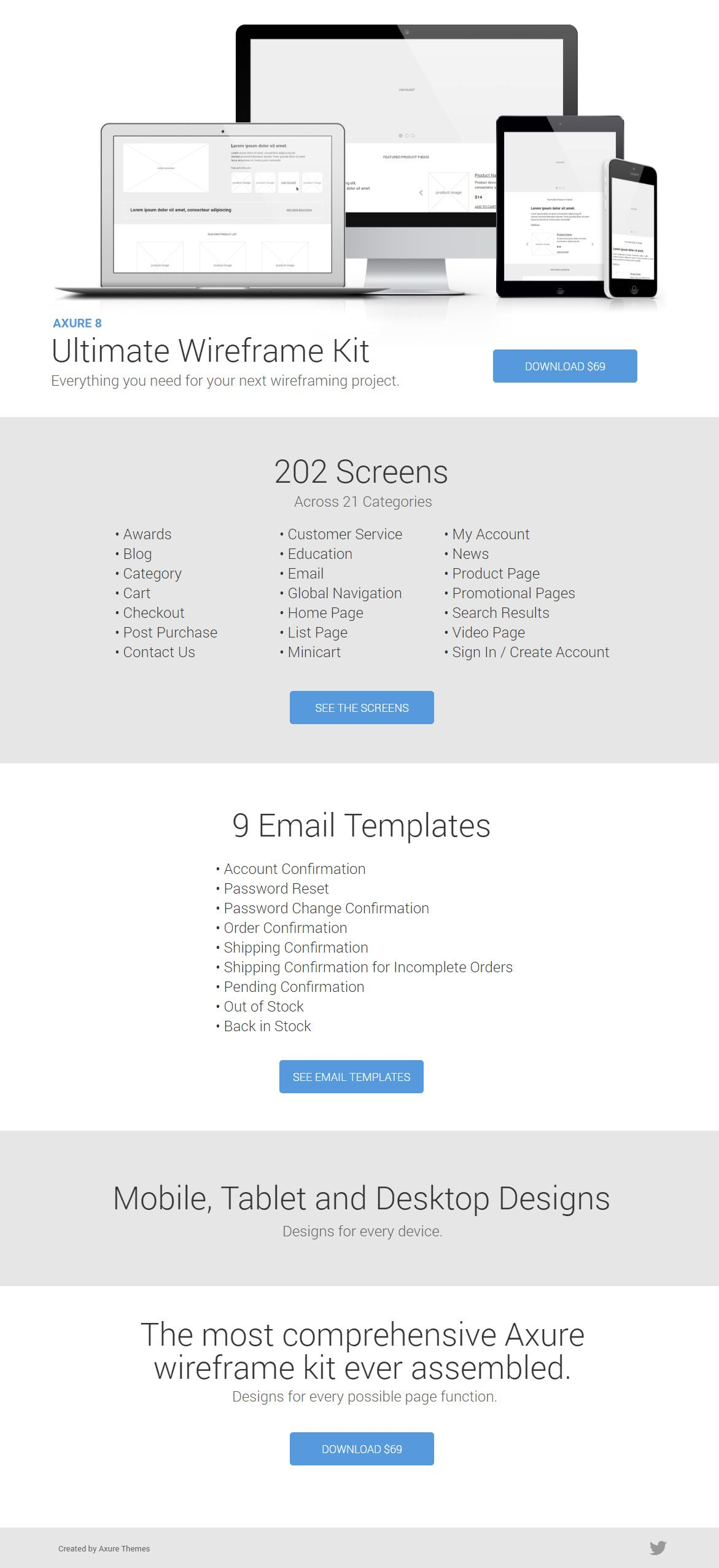 Axure wireframe kit 200 screens mobile tablet and for Axure tablet template