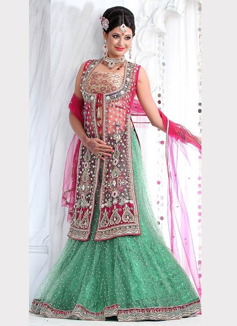 69dd2b8d8e Open Shirt Choli with Flared Lehenga | Choli designs | Bridal ...