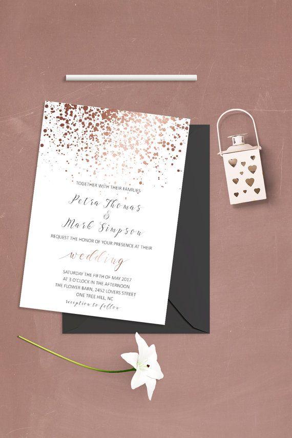 Simple Wedding Invitation Template Modern Wedding Invitation Set ...