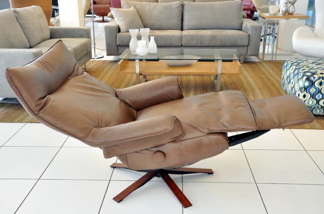 Brown leather recliner by Lafer - Check out other Lafer ...