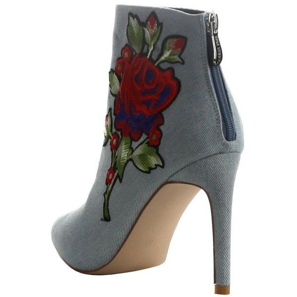 Women's Closed Pointed Toe Embroidered Stiletto Heel Ankle Bootie