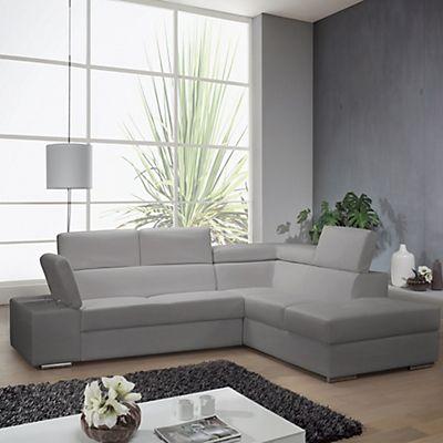 Canapé d\'angle droit convertible imitation cuir gris clair | Idées ...