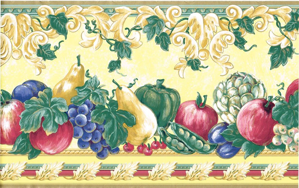 Yellow Gold Victorian Fruit Grape Pear Apple Tuscan Kitchen Wall paper Border #WESTMOUNT