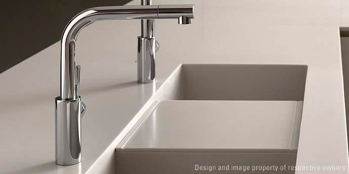 2-bowl kitchen sink / Corian® HD23 by Massimo Castagna DuPont CORIAN
