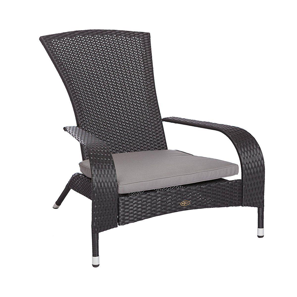Patio Sense 62430 Coconino Wicker Adirondack Chair Black Lounge Chair Outdoor Outdoor Furniture Wicker Chair