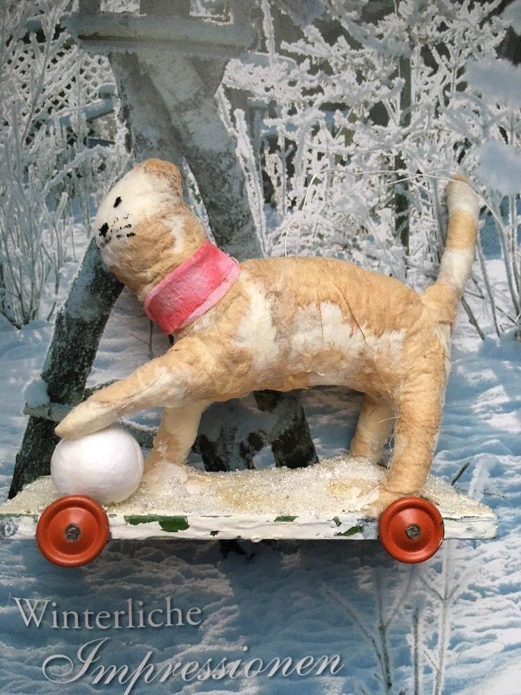 Watte Figur alte Oblate Katze Spielzeug schabby jdl,10 x8 cm ...