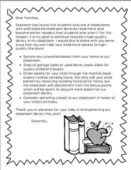 Book Donation Parent Letter Letter To Parents Donation Letter