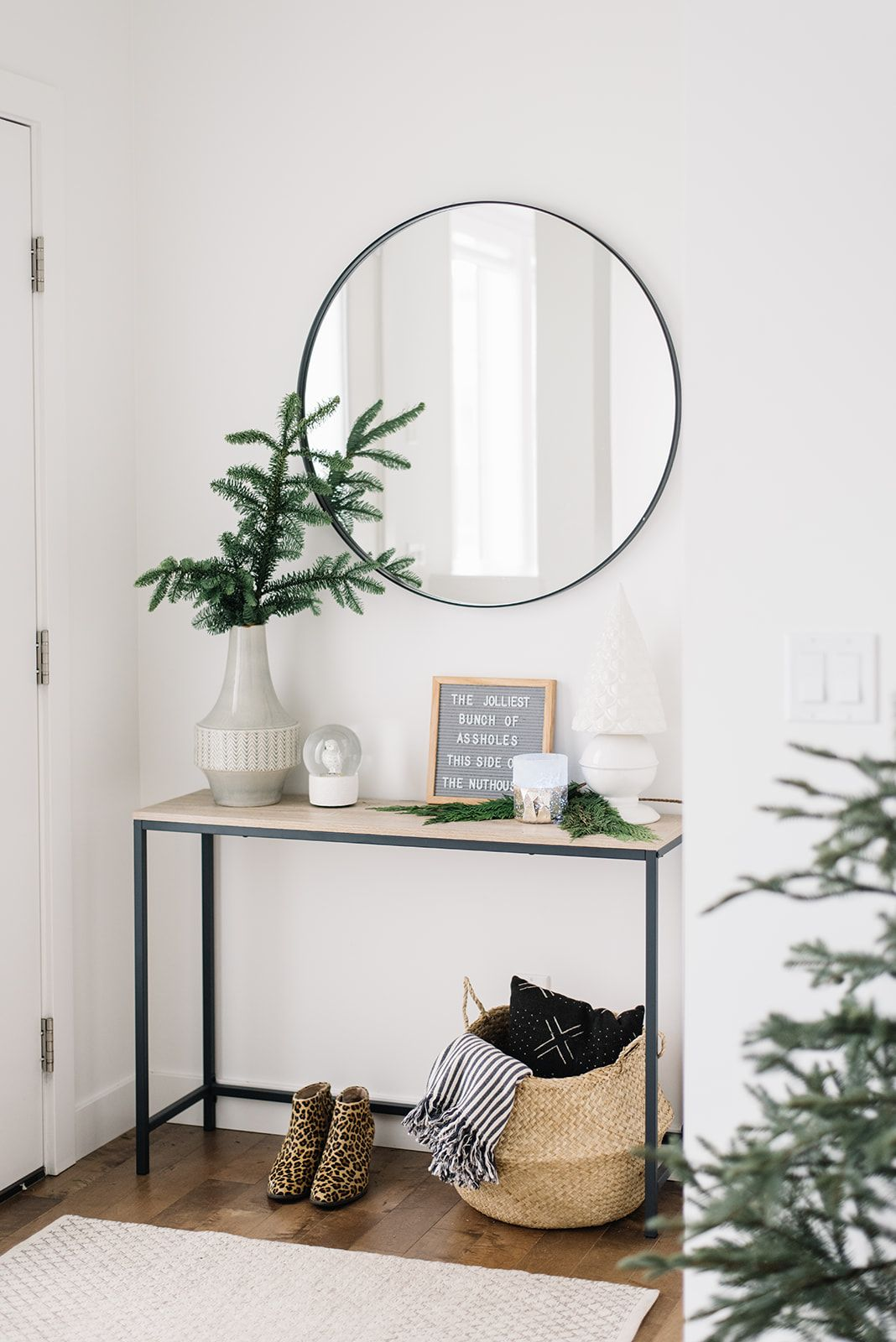 Holiday Home Tour Part One Front Entry Living Room Modern Holiday Decor Living Room Scandinavian Home Decor Styles