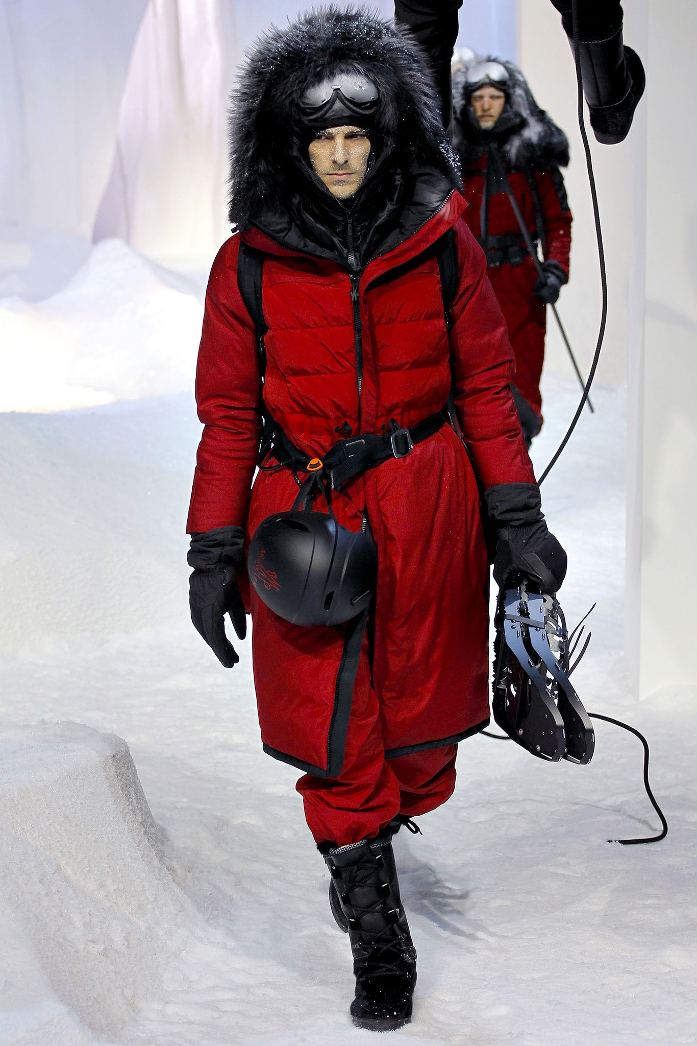 Moncler Gamme Rouge ski red with black fur hooded coat and
