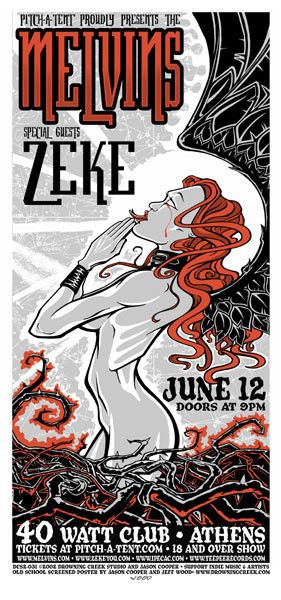 2002 Melvins Athens GA 40 Watt Show Poster