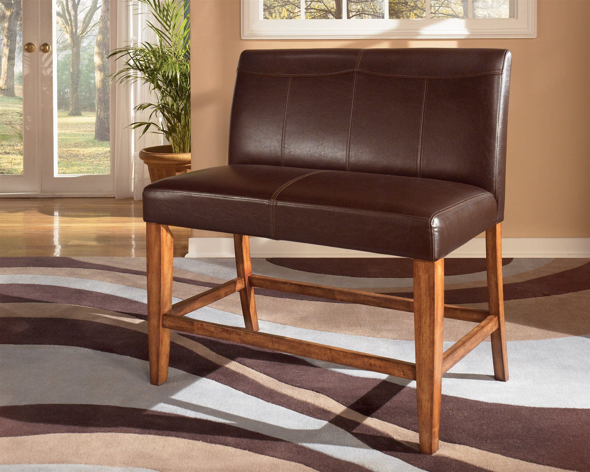 Leather Dual Seat Counter Bench For The Home Wood