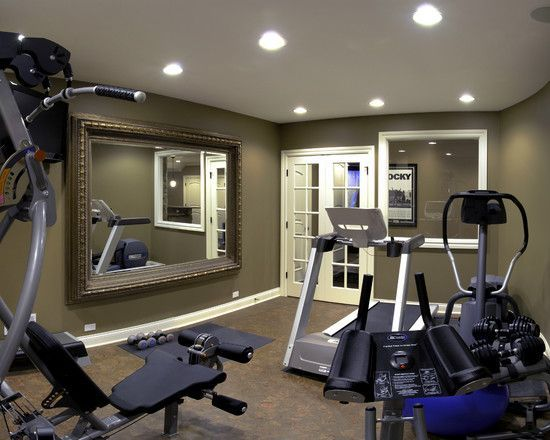 Home gym basement design like the french doors and