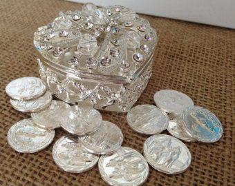 Wedding Arras Silver Tone Unity Coins Decoradas Con Crystal Bañados En Plata