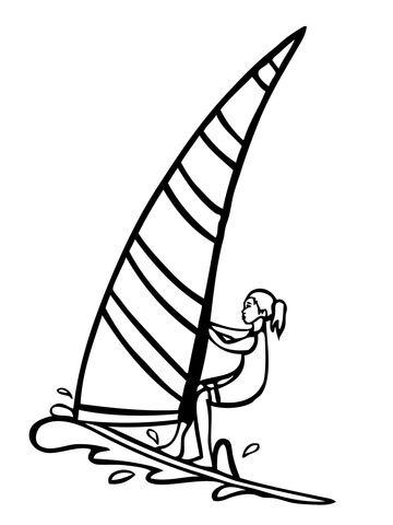 Windsurfer Girl Coloring Page Girlsridelikehell Pinterest