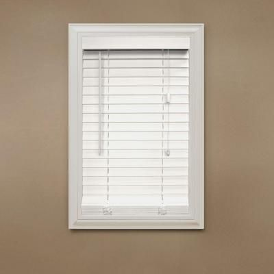 Home Decorators Collection White 2 In Faux Wood Blind 34 5 In W X 64 In L Actual Size 34 In W X 64 In L 10793478051205 White Faux Wood Blinds Faux Wood Blinds Home Decorators Collection