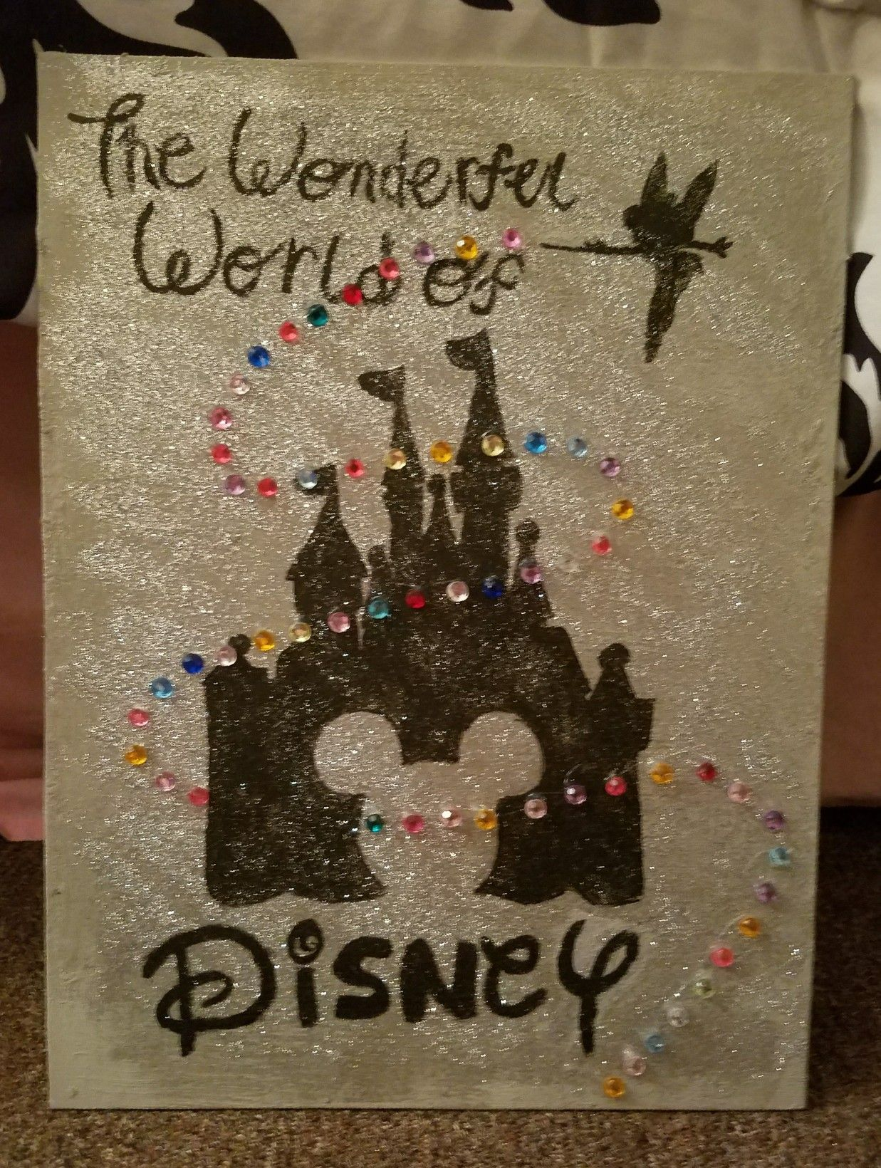Disney Castle Canvas The Wonderful World Of Crafts Easy Diy Painting Glitter Gems