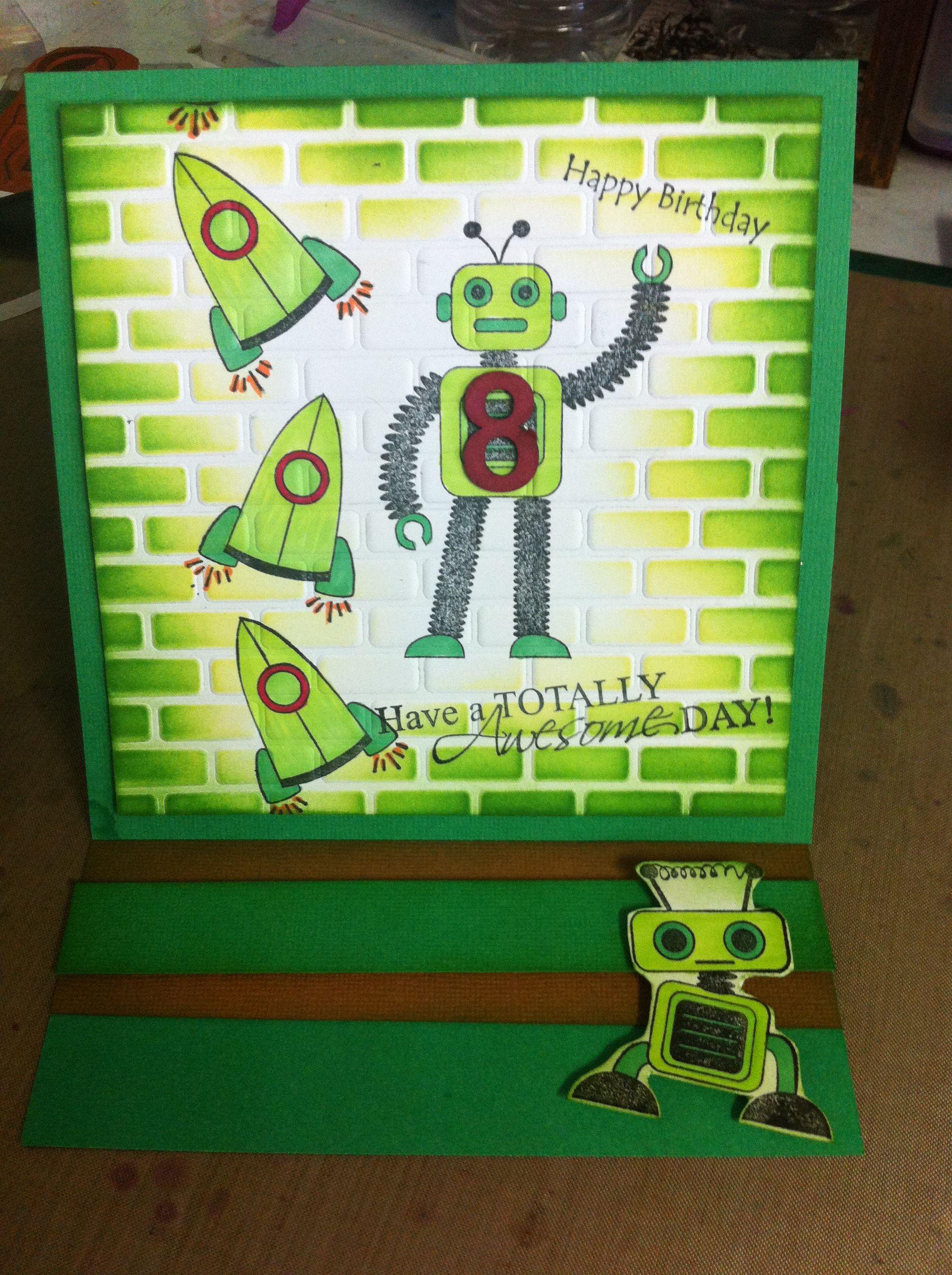Kaszazz Card Making Ideas Part - 39: Robot Easel Card - Created Using All Kaszazz Products