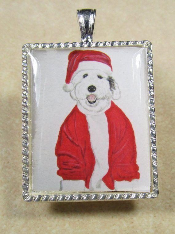 Old English Charm: Old English Sheepdog Christmas Pendant