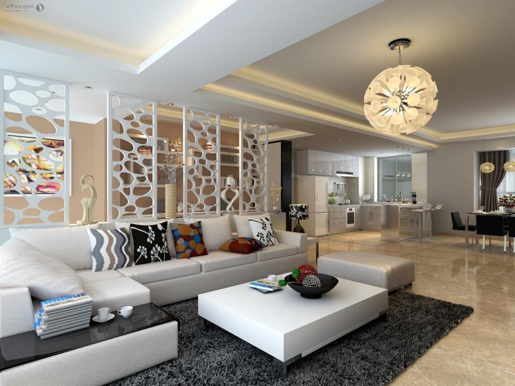 Interior DesignLuxury Italian Style Design With Atrractive Pendant Lamp And White Sofa Plus Low Table On Dark Gray Furry Rug Along Modern